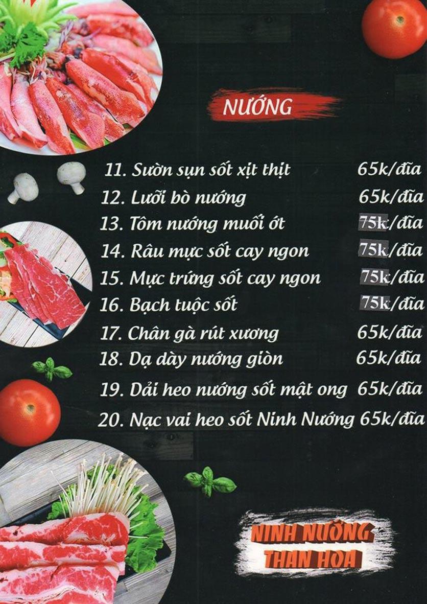 Menu Ninh Nướng Than Hoa - Hà Đông 8