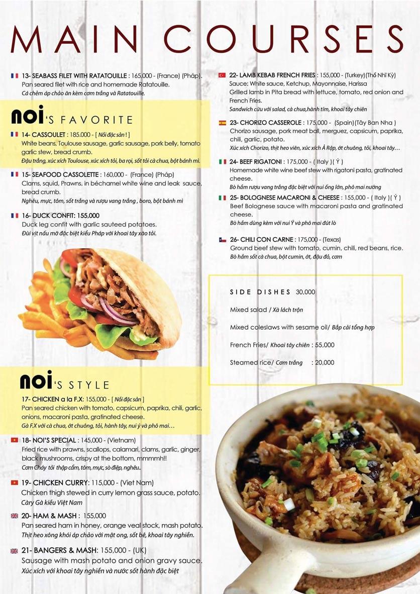 Menu NOI Restaurant - Thảo Điền 1