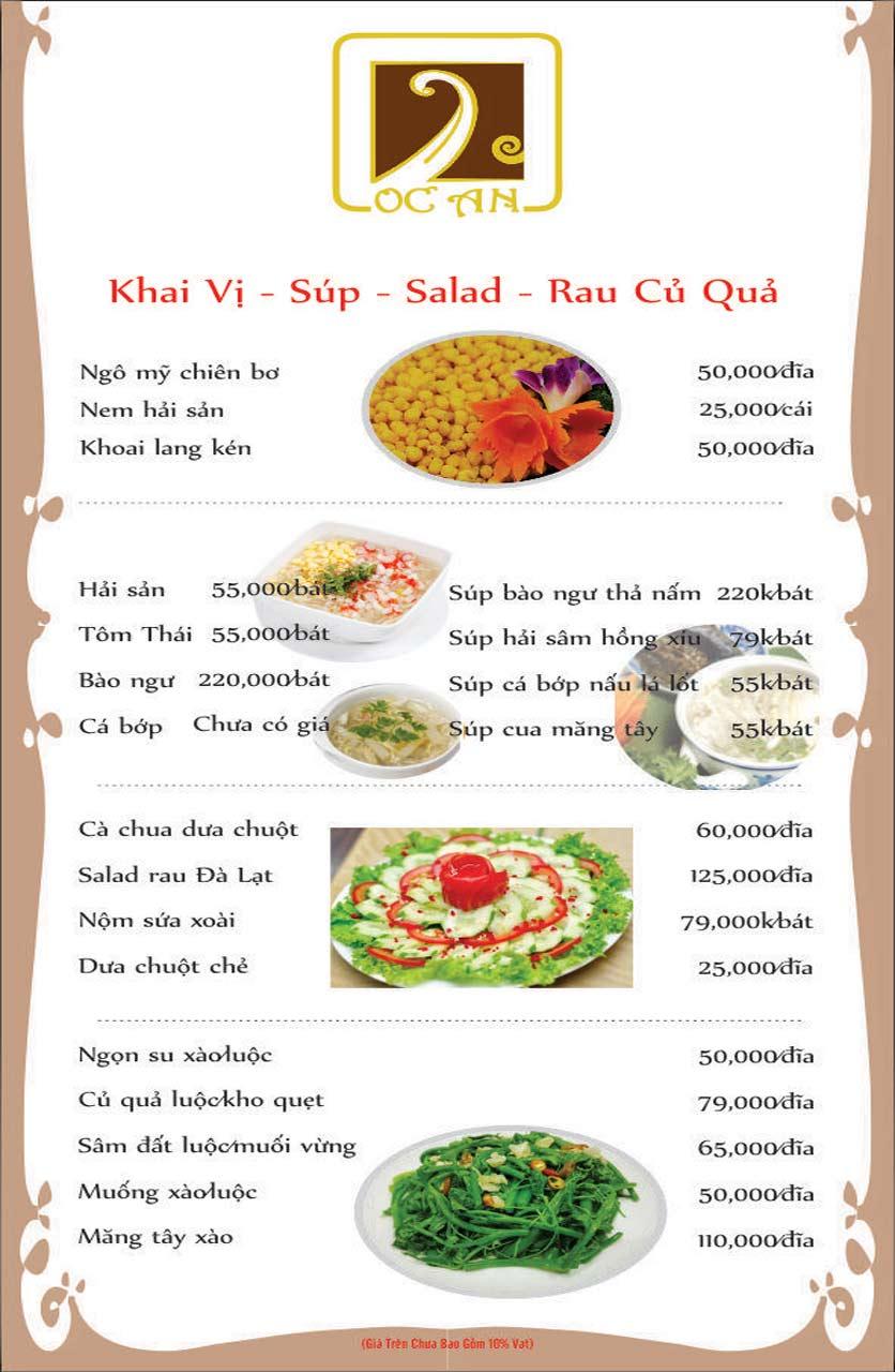 Menu Ốc An - Hải Sản 3 Miền - Nguyễn Văn Huyên 1