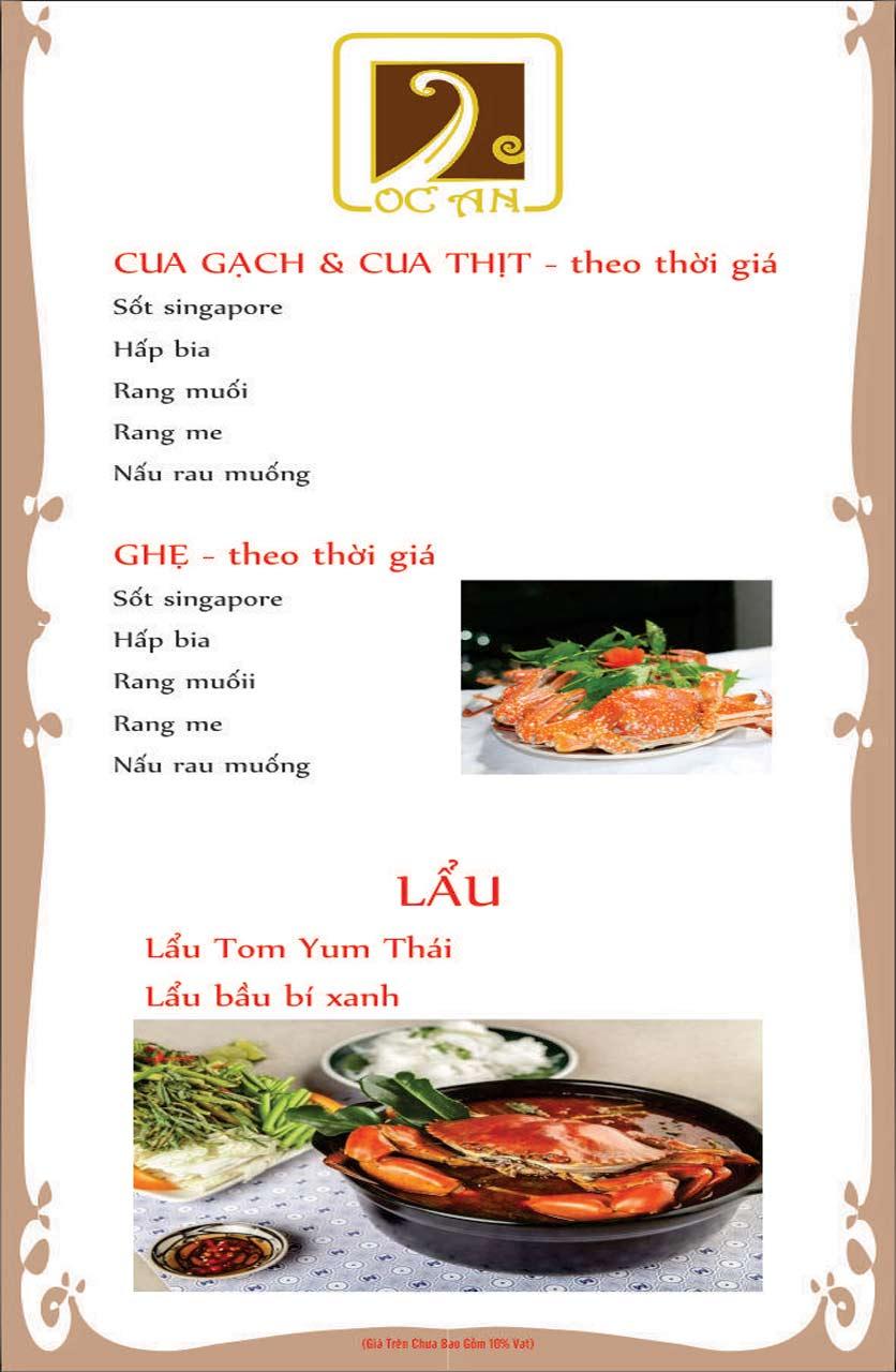 Menu Ốc An - Hải Sản 3 Miền - Nguyễn Văn Huyên 11