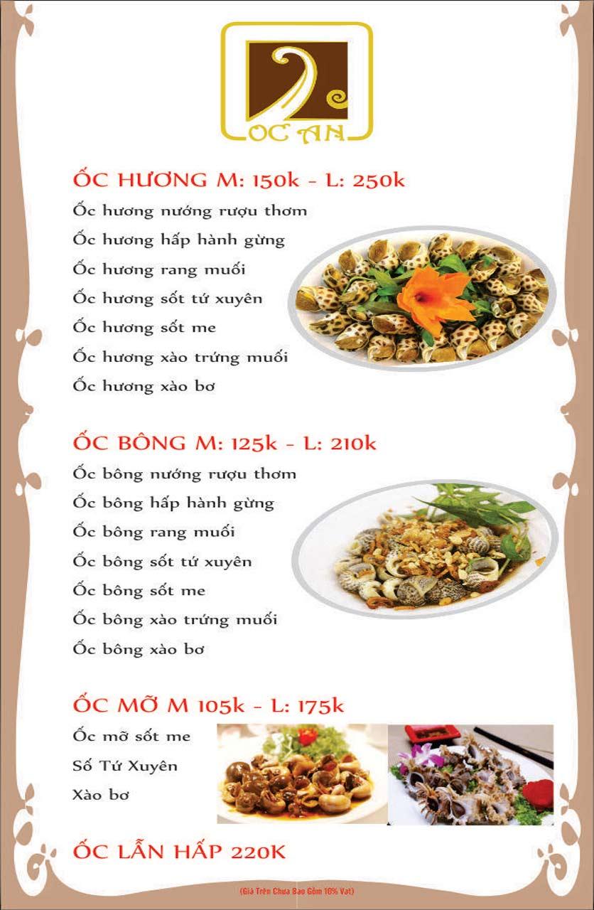 Menu Ốc An - Hải Sản 3 Miền - Nguyễn Văn Huyên 3