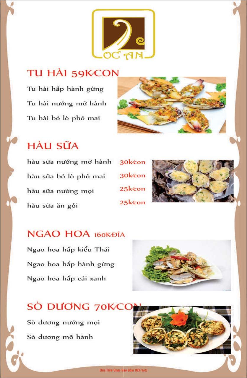 Menu Ốc An - Hải Sản 3 Miền - Nguyễn Văn Huyên 5