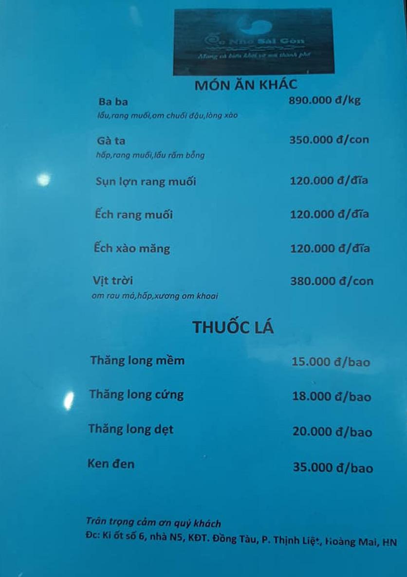 Menu Ốc Nhớ Sài Gòn - KCC Đồng Tàu 5