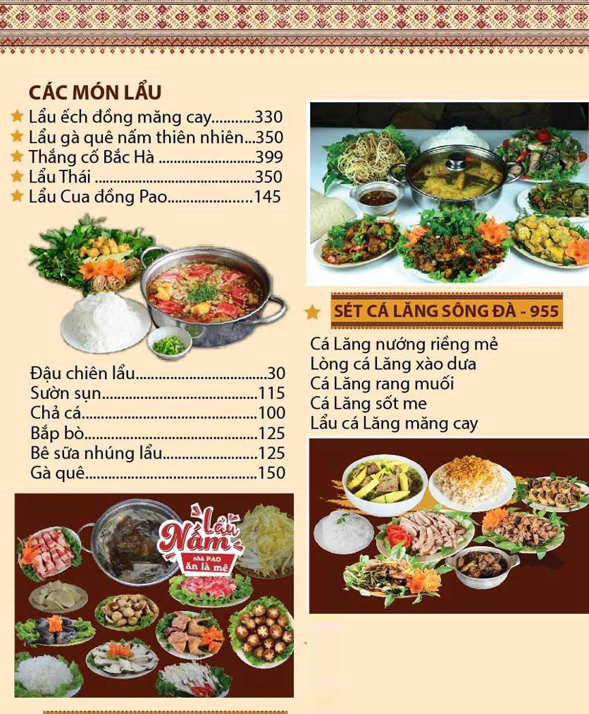 Menu Pao Quán - Hà Đông  2