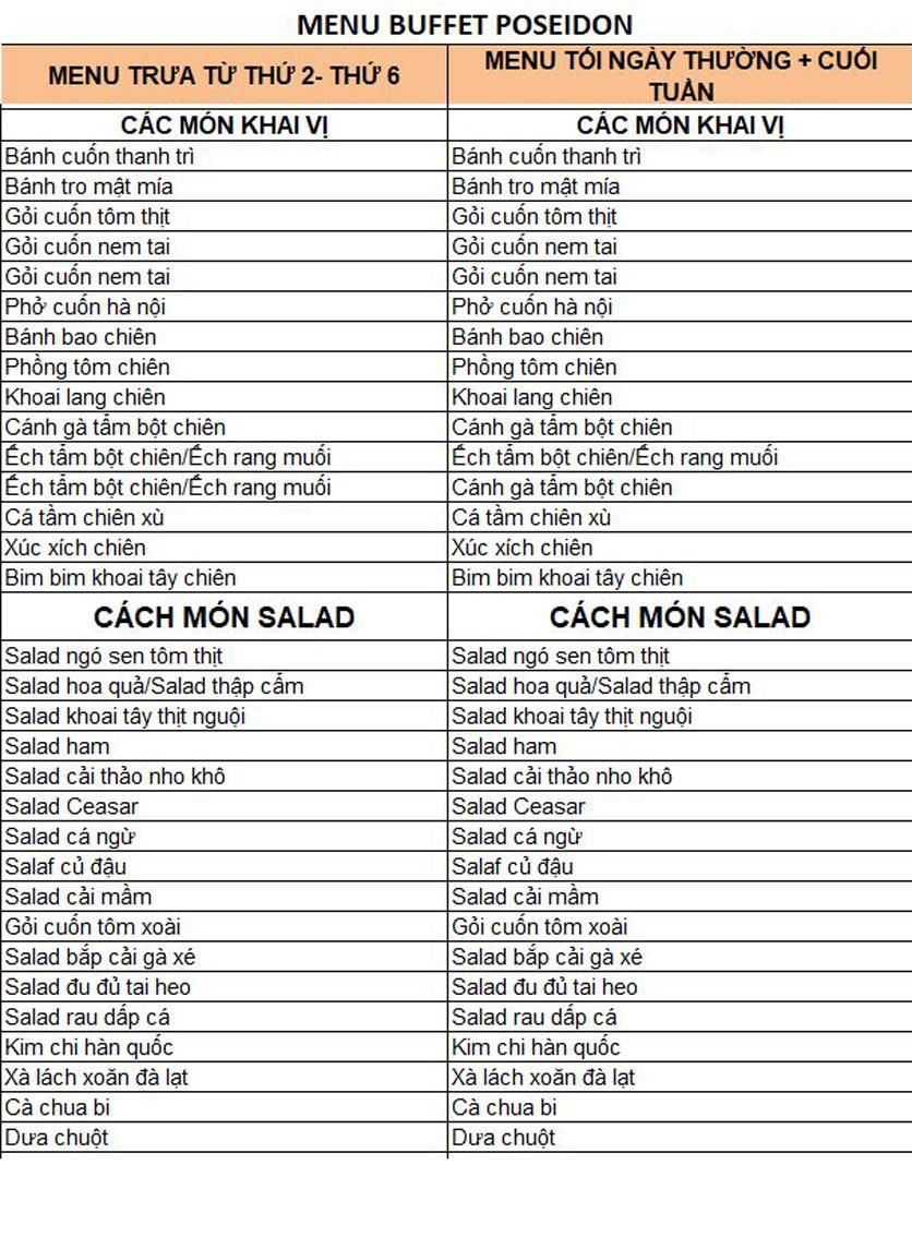 Menu Buffet Poseidon - Lê Văn Lương 2