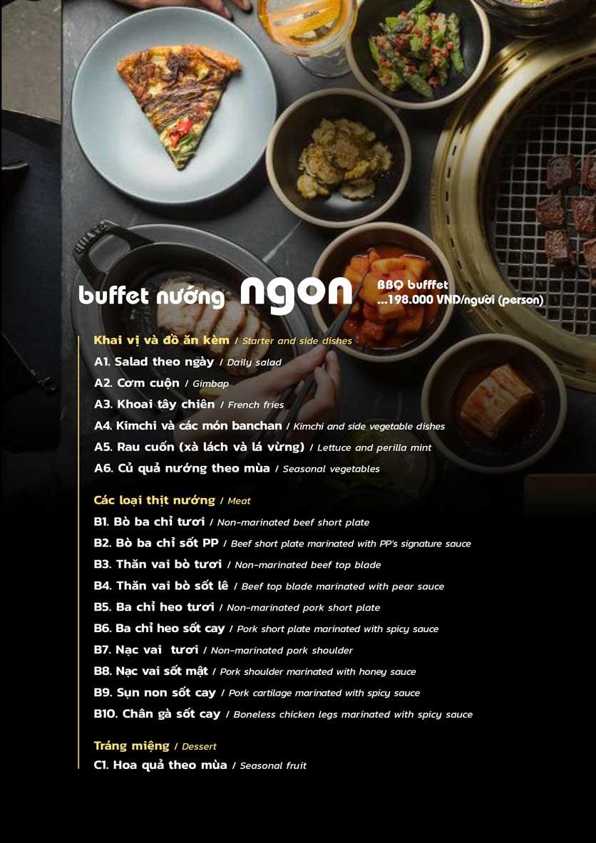 Menu PP's BBQ & Hotpot - Phan Chu Trinh 2