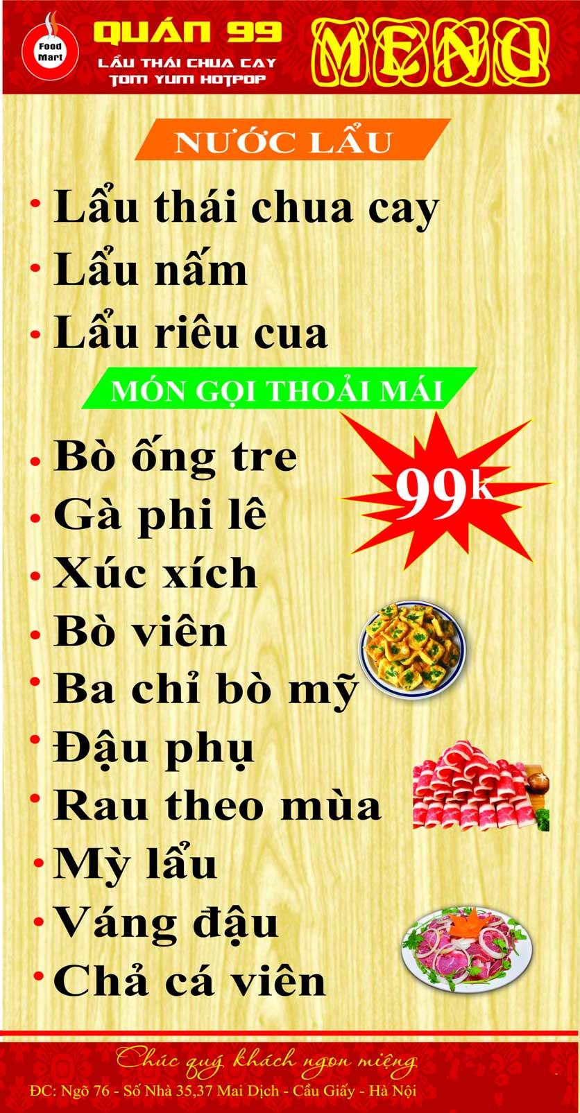 Menu Quán 99 – Lẩu Thái Chua Cay – Mai Dịch 1