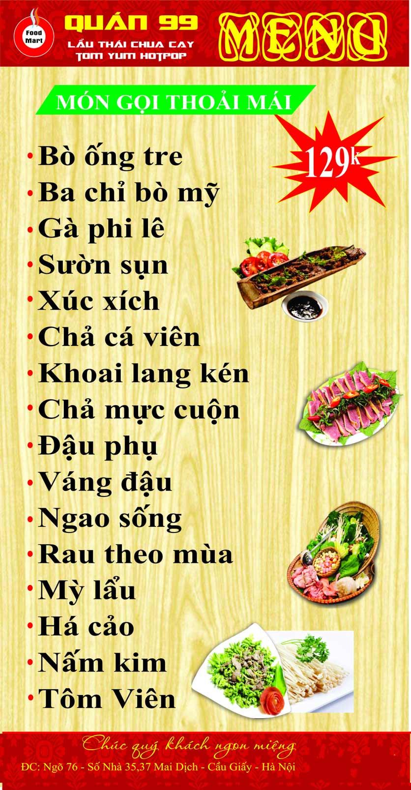 Menu Quán 99 – Lẩu Thái Chua Cay – Mai Dịch 2