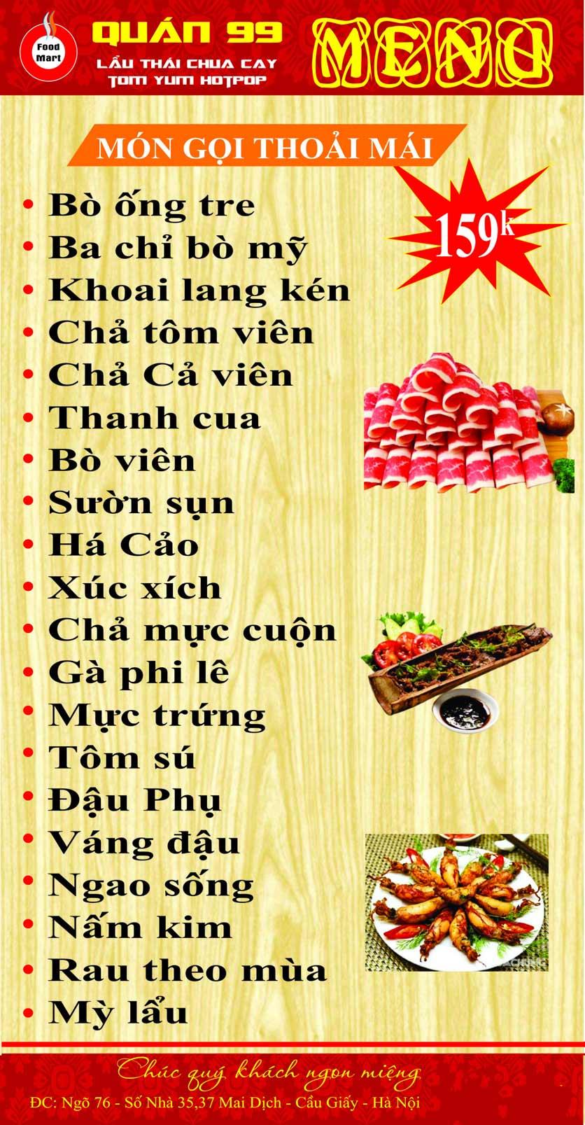 Menu Quán 99 – Lẩu Thái Chua Cay – Mai Dịch 3
