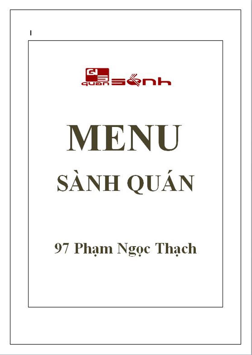 Menu Quán Sành - Phạm Ngọc Thạch 1
