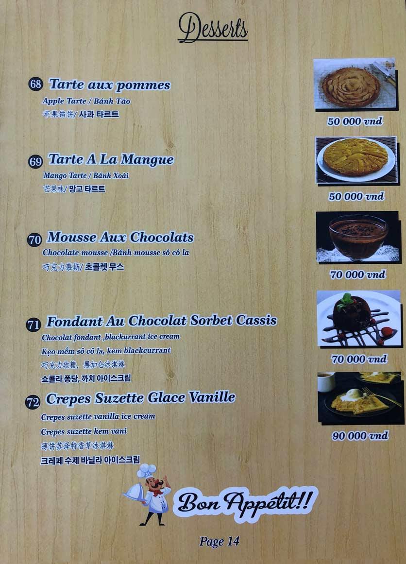 Menu Roly Restaurant - Lê Lợi 14