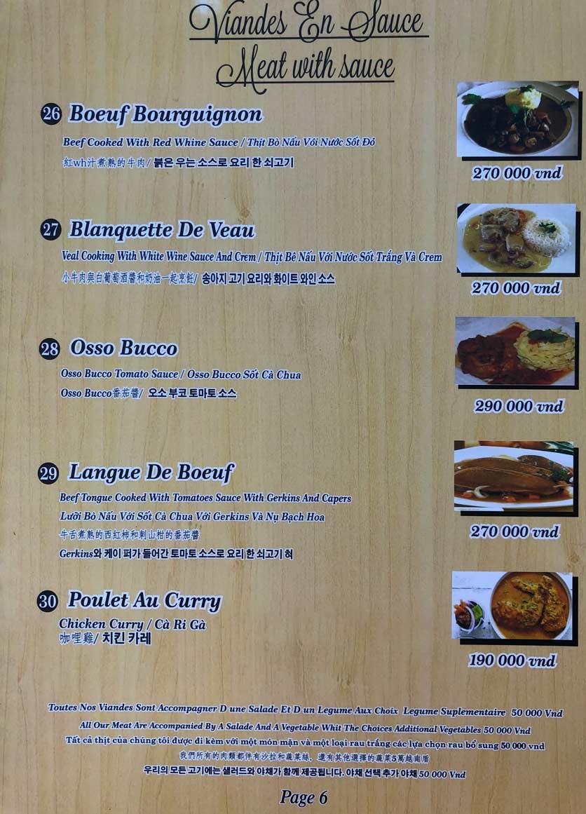 Menu Roly Restaurant - Lê Lợi 6