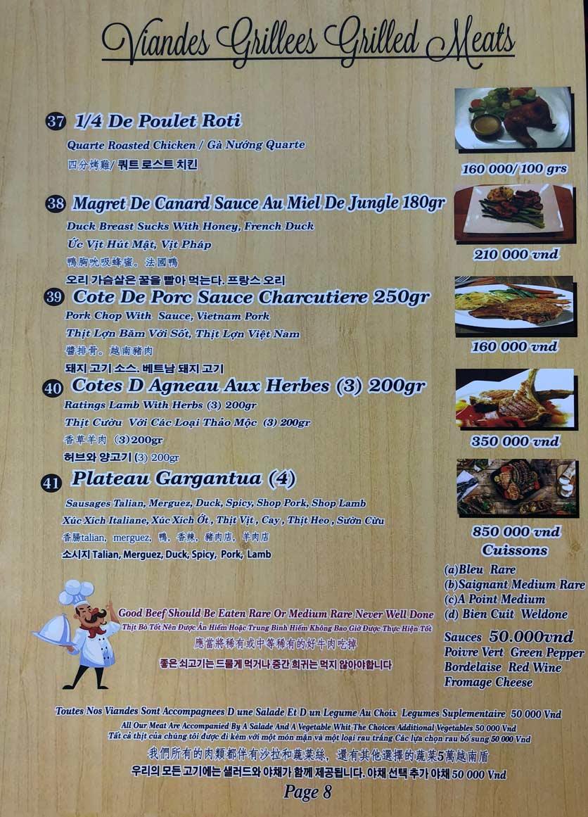 Menu Roly Restaurant - Lê Lợi 8