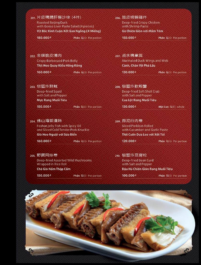 Menu Shang Garden - Tôn Thất Tùng 5