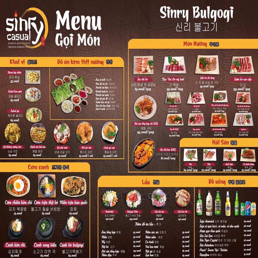 Menu Sinry Bulgogi - Triều Khúc     5