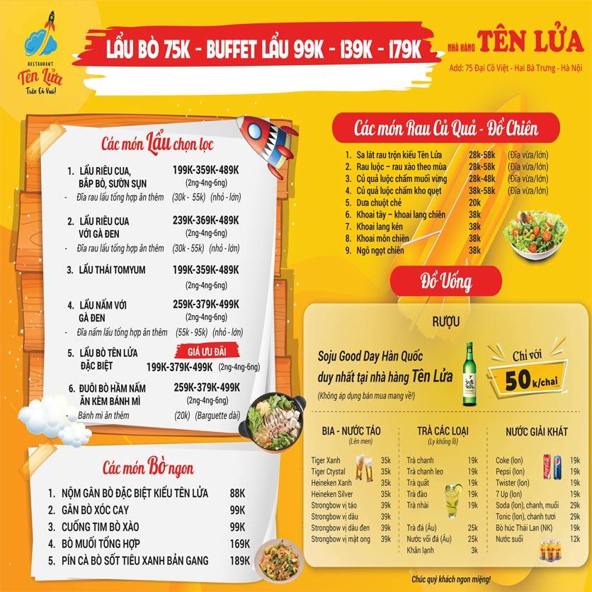Menu Tên Lửa Restaurant - Đại Cồ Việt 2