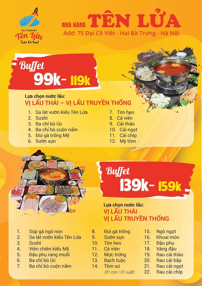 Menu Tên Lửa Restaurant - Đại Cồ Việt 3