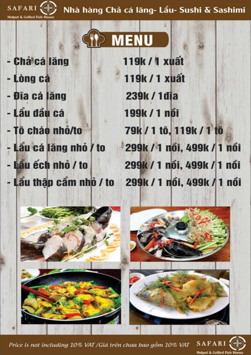 Menu The Safari - Hotpot & Grilled Fish House - Nguyễn Văn Cừ     3