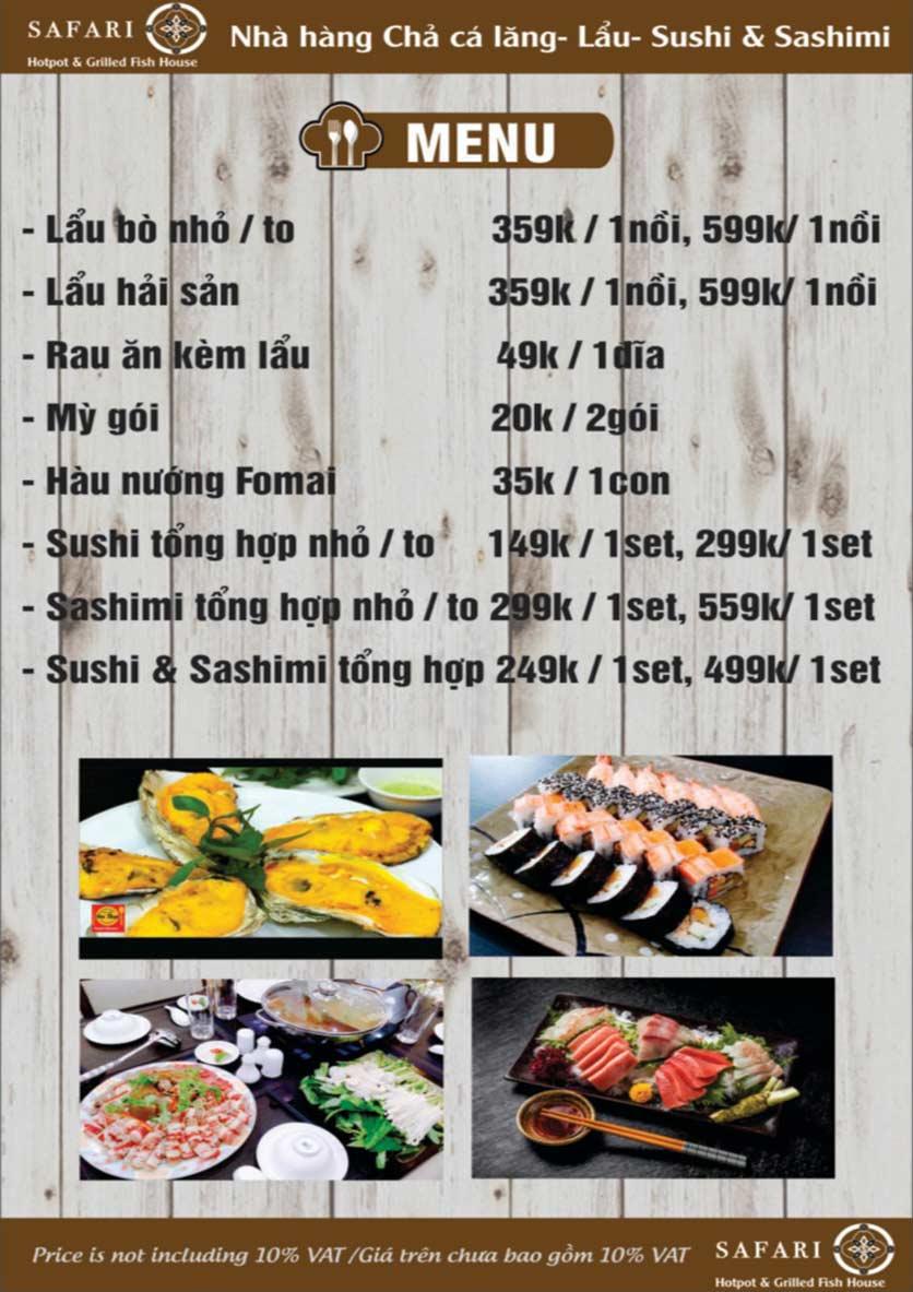 Menu The Safari - Hotpot & Grilled Fish House - Nguyễn Văn Cừ     4