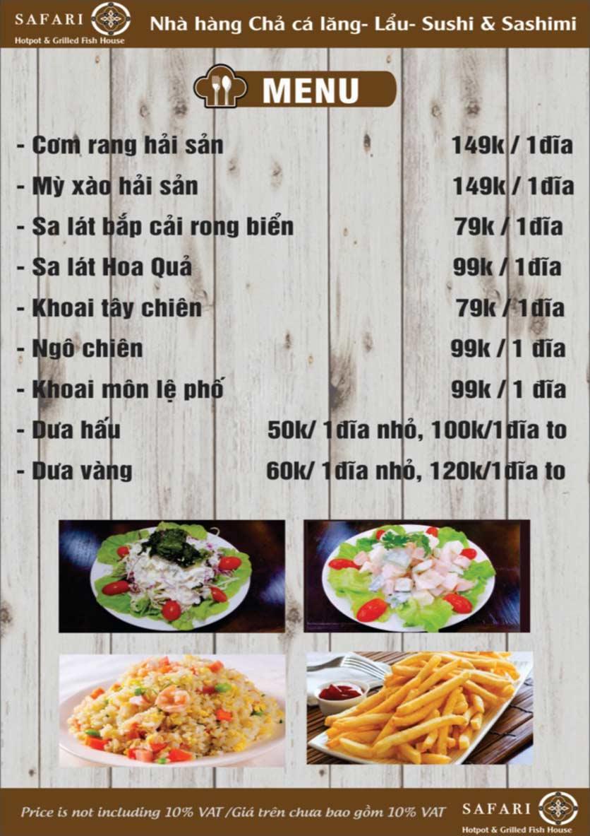 Menu The Safari - Hotpot & Grilled Fish House - Nguyễn Văn Cừ     5