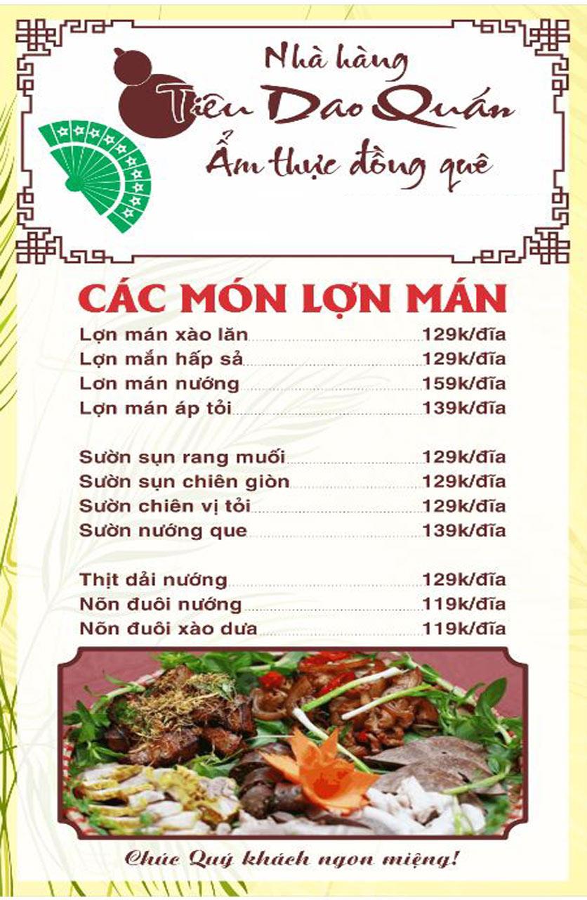 Menu Tiêu Dao Quán - Nguyễn Khuyến 4