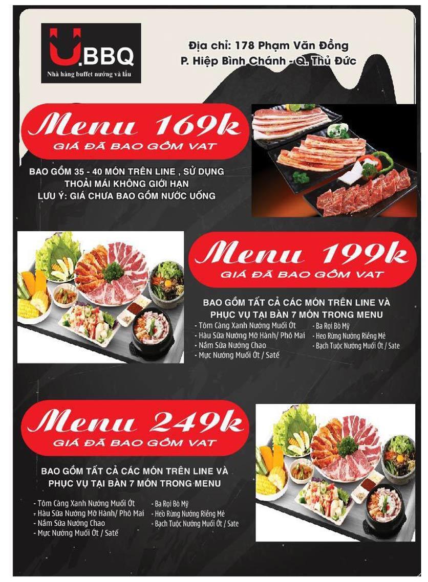 Menu U.BBQ Buffet - Phạm Văn Đồng    1