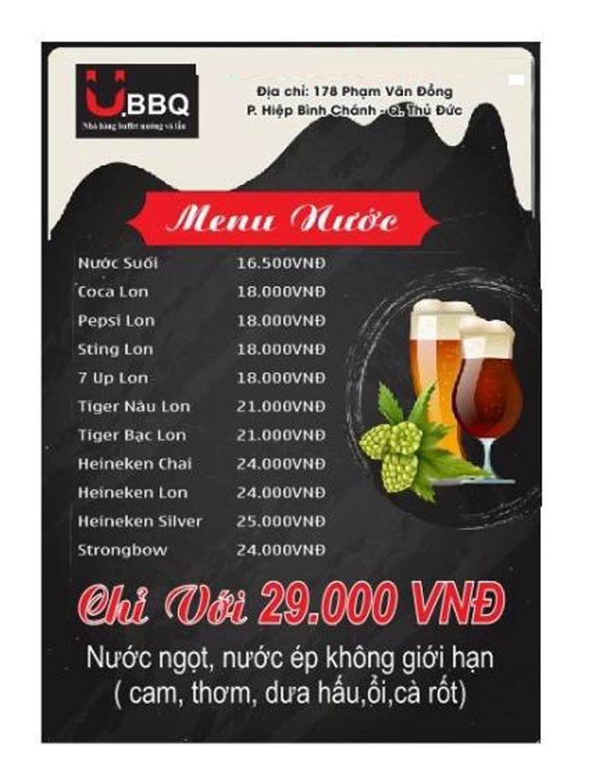 Menu U.BBQ Buffet - Phạm Văn Đồng    2
