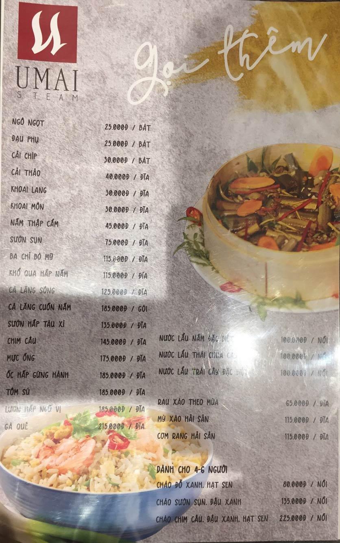 Menu Umai Steam - Nguyễn Đình Chiểu 5