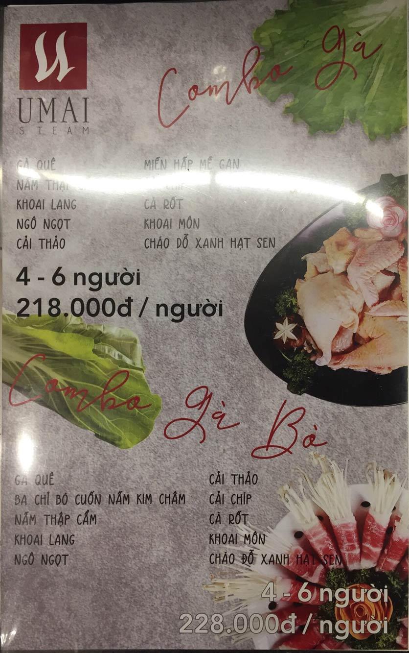 Menu Umai Steam - Nguyễn Đình Chiểu 1
