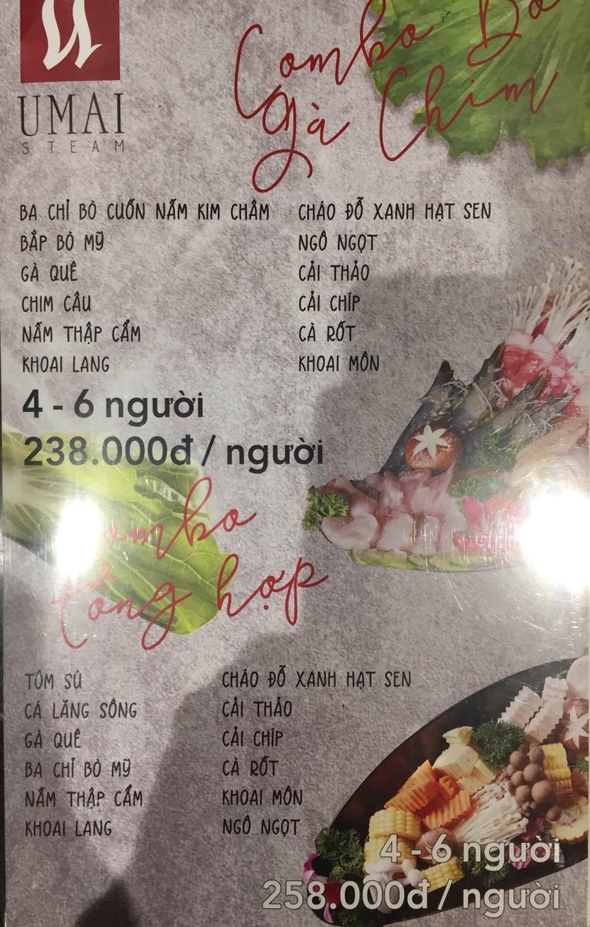 Menu Umai Steam - Nguyễn Đình Chiểu 3