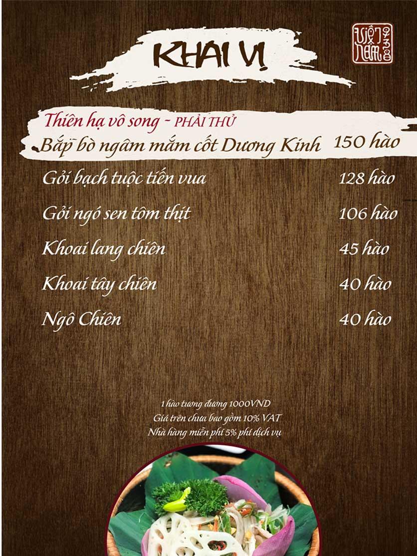 Menu Viet Nam 938 - Ngõ Núi Trúc 8