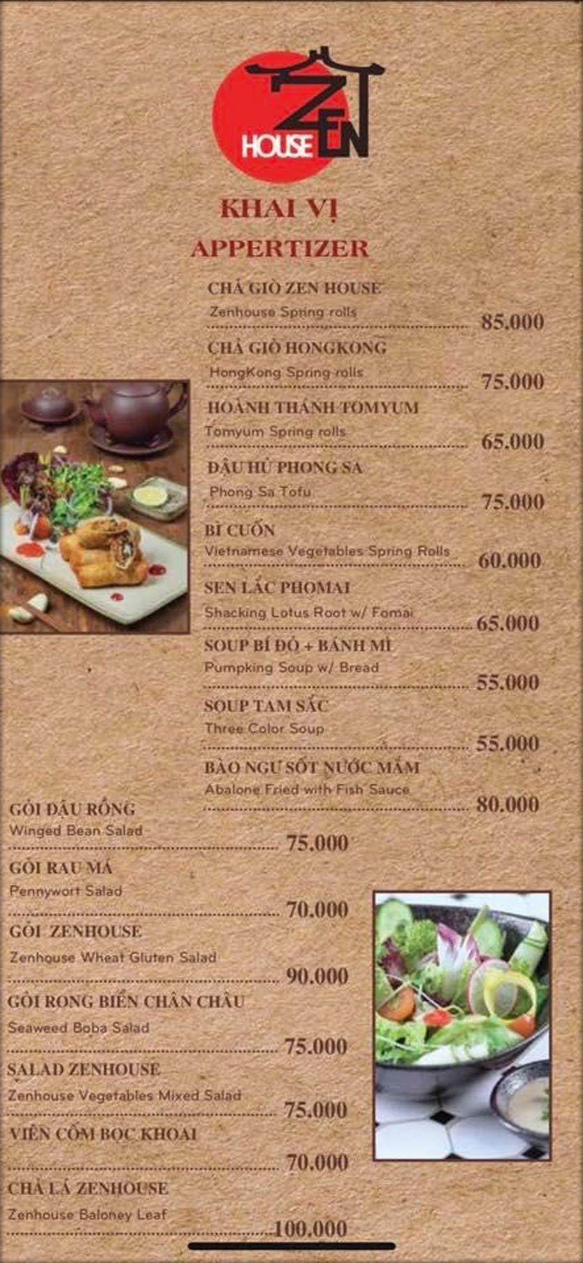 Menu Zenhouse Café & Vegan Restaurant - Vân Côi 1