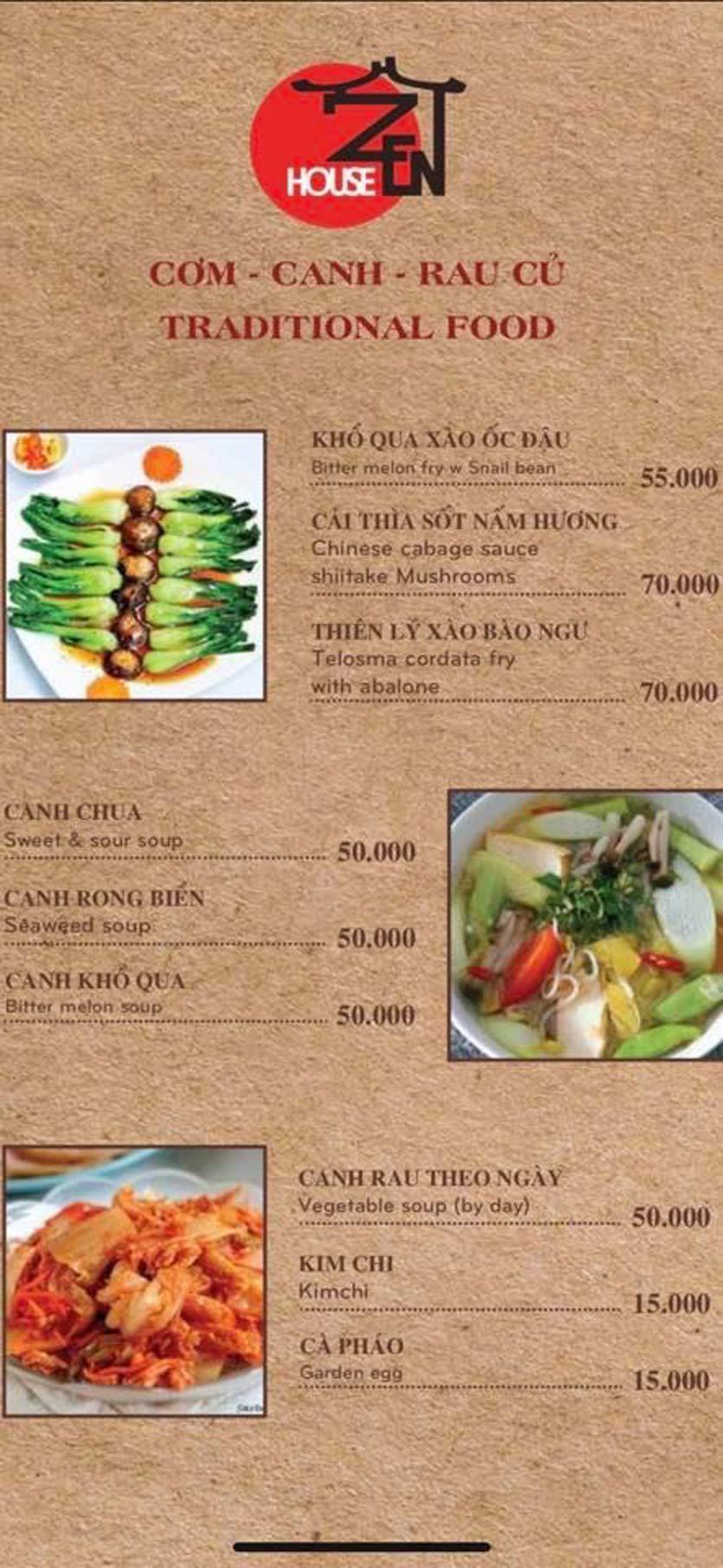 Menu Zenhouse Café & Vegan Restaurant - Vân Côi 4