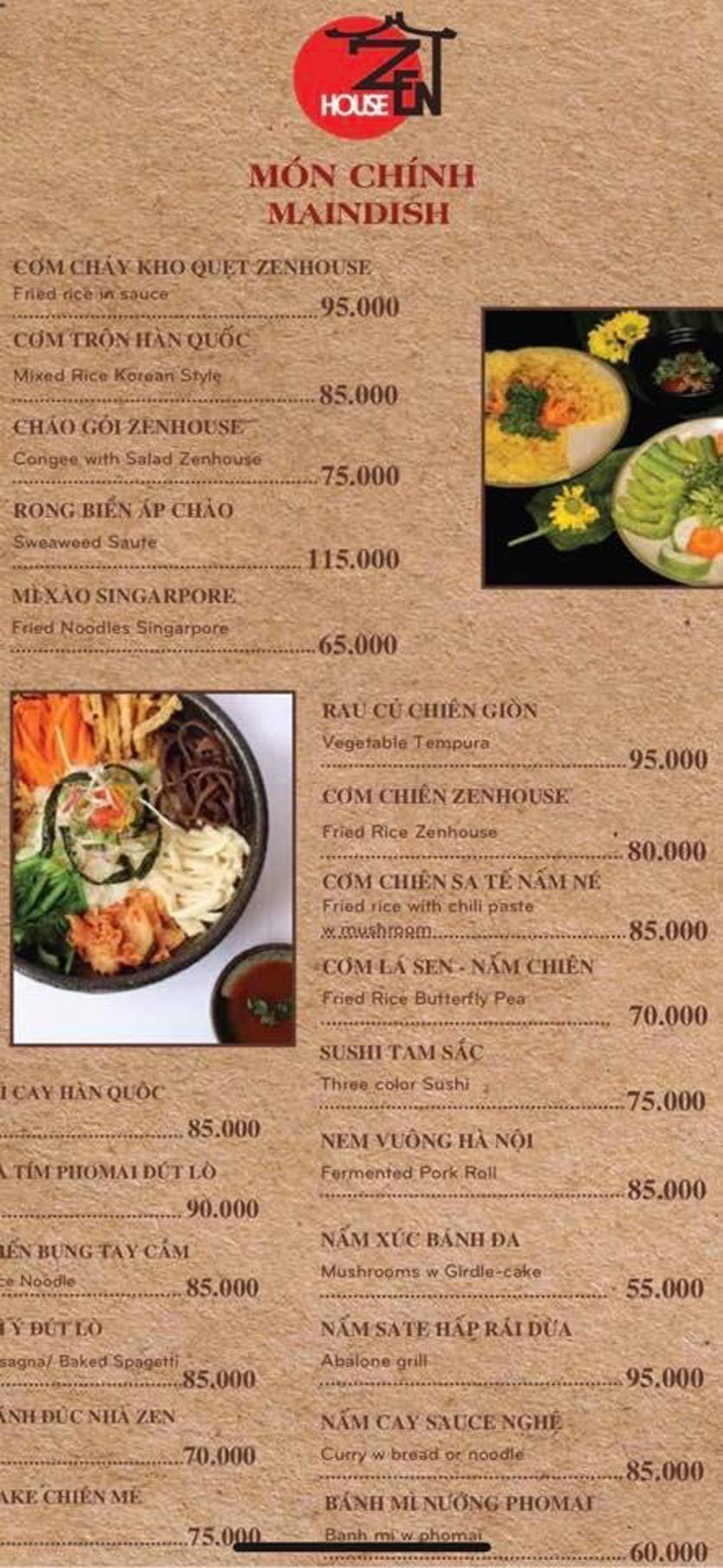 Menu Zenhouse Café & Vegan Restaurant - Vân Côi 5