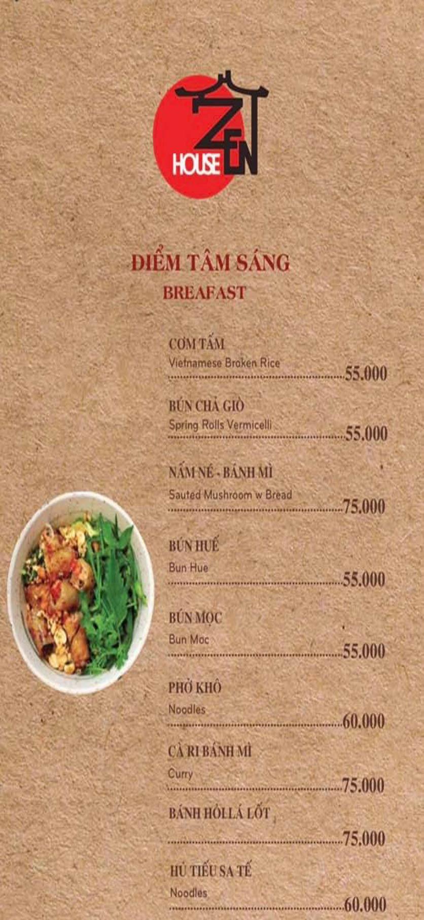 Menu Zenhouse Café & Vegan Restaurant - Vân Côi 7