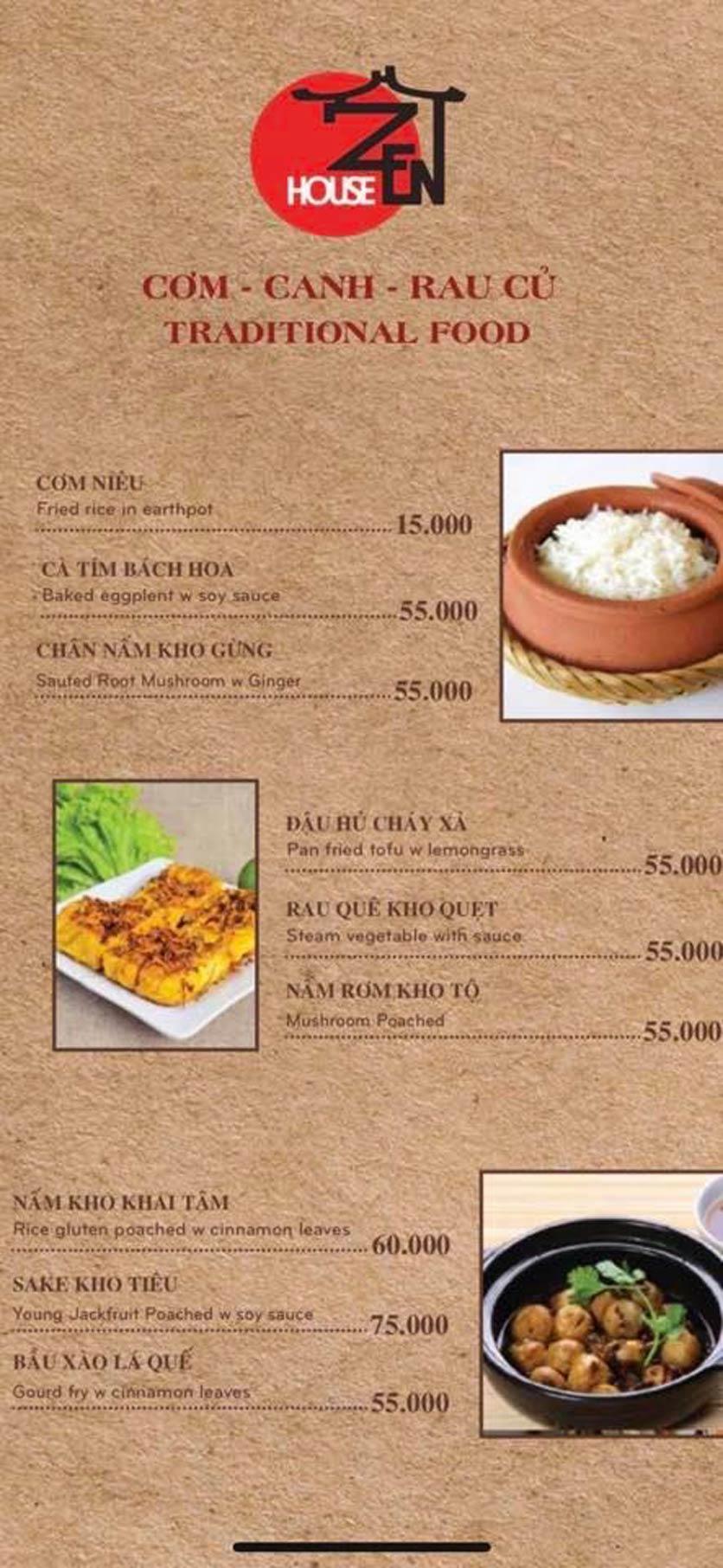 Menu Zenhouse Café & Vegan Restaurant - Vân Côi 8
