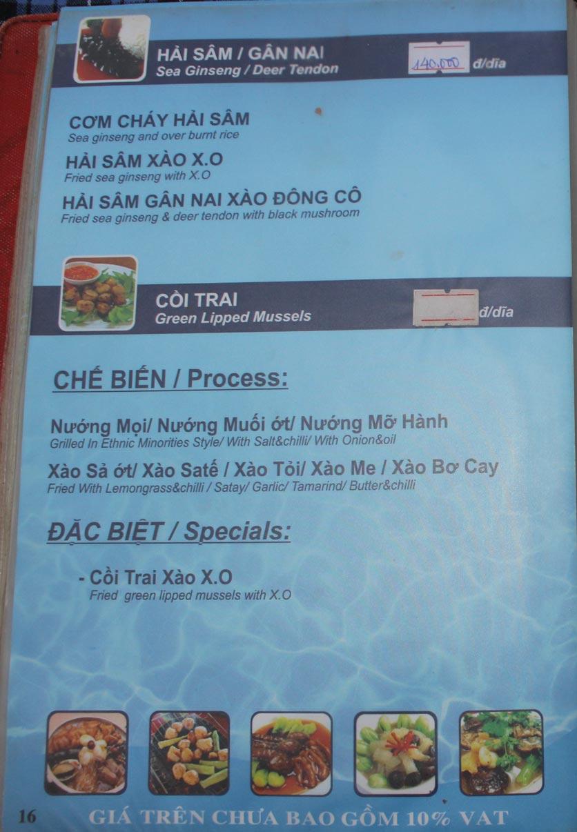Menu Hải Sản Biển Đông 3 12