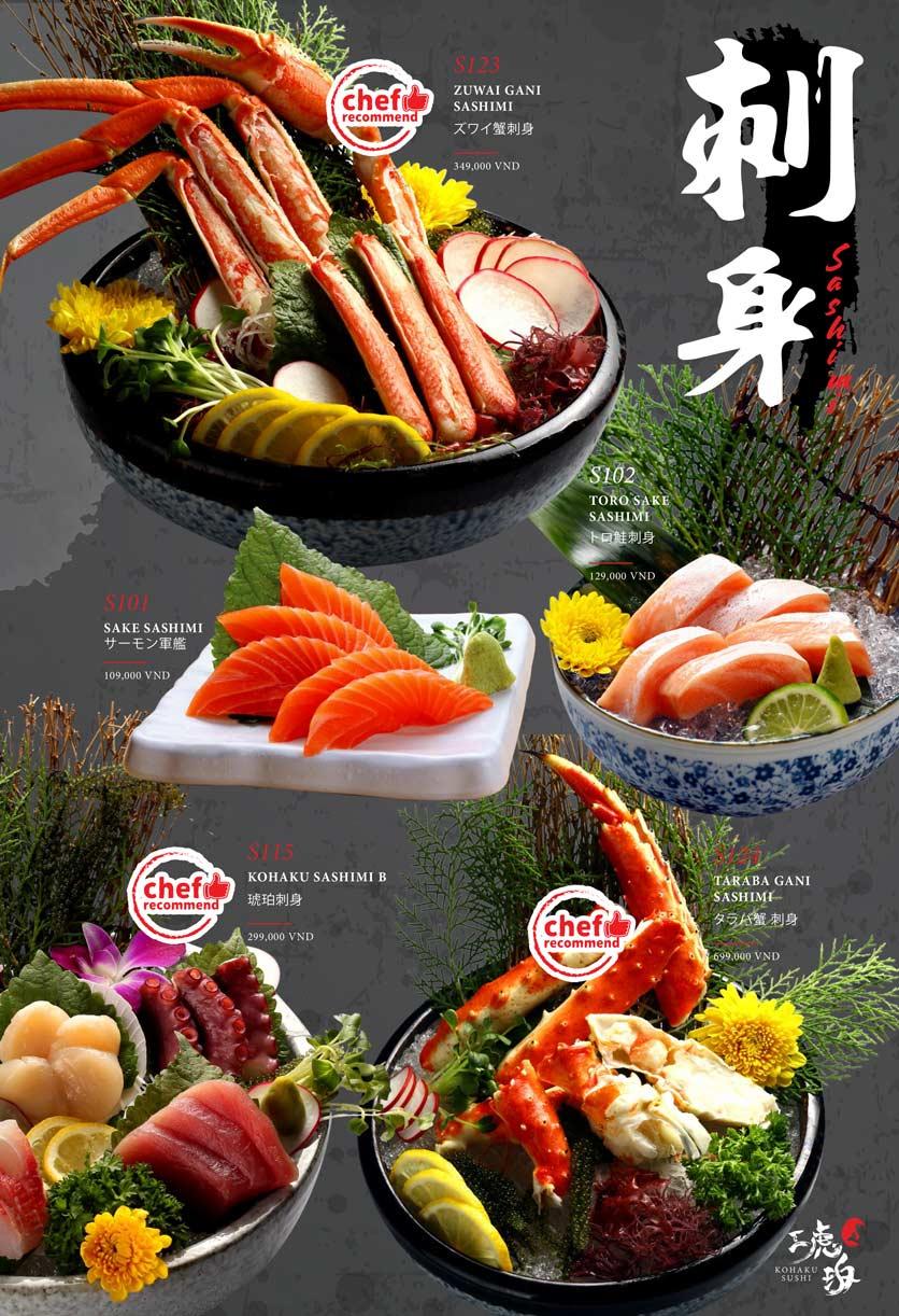 Menu Kohaku Sushi - Vincom Lê Thánh Tôn 1