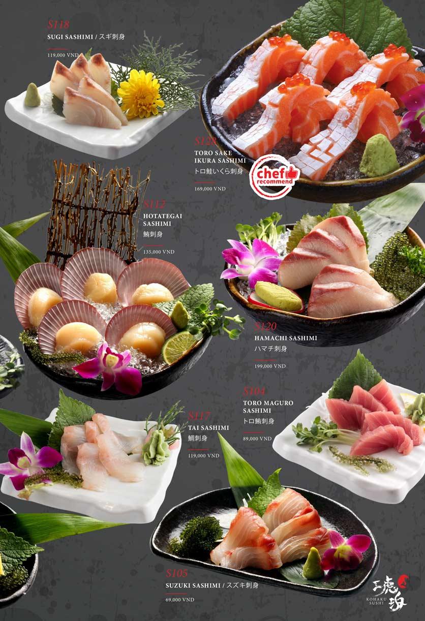 Menu Kohaku Sushi - Vincom Lê Thánh Tôn 3
