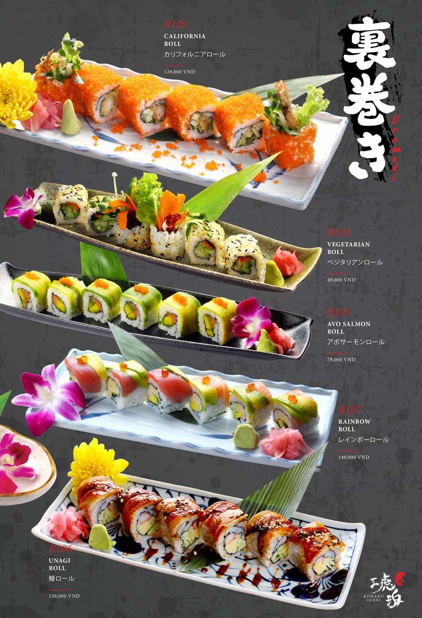 Menu Kohaku Sushi - Vincom Lê Thánh Tôn 17