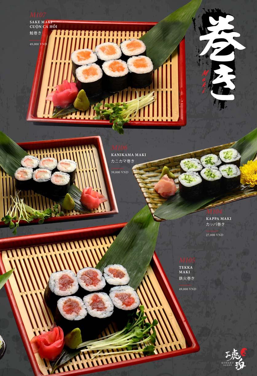 Menu Kohaku Sushi - Vincom Lê Thánh Tôn 21