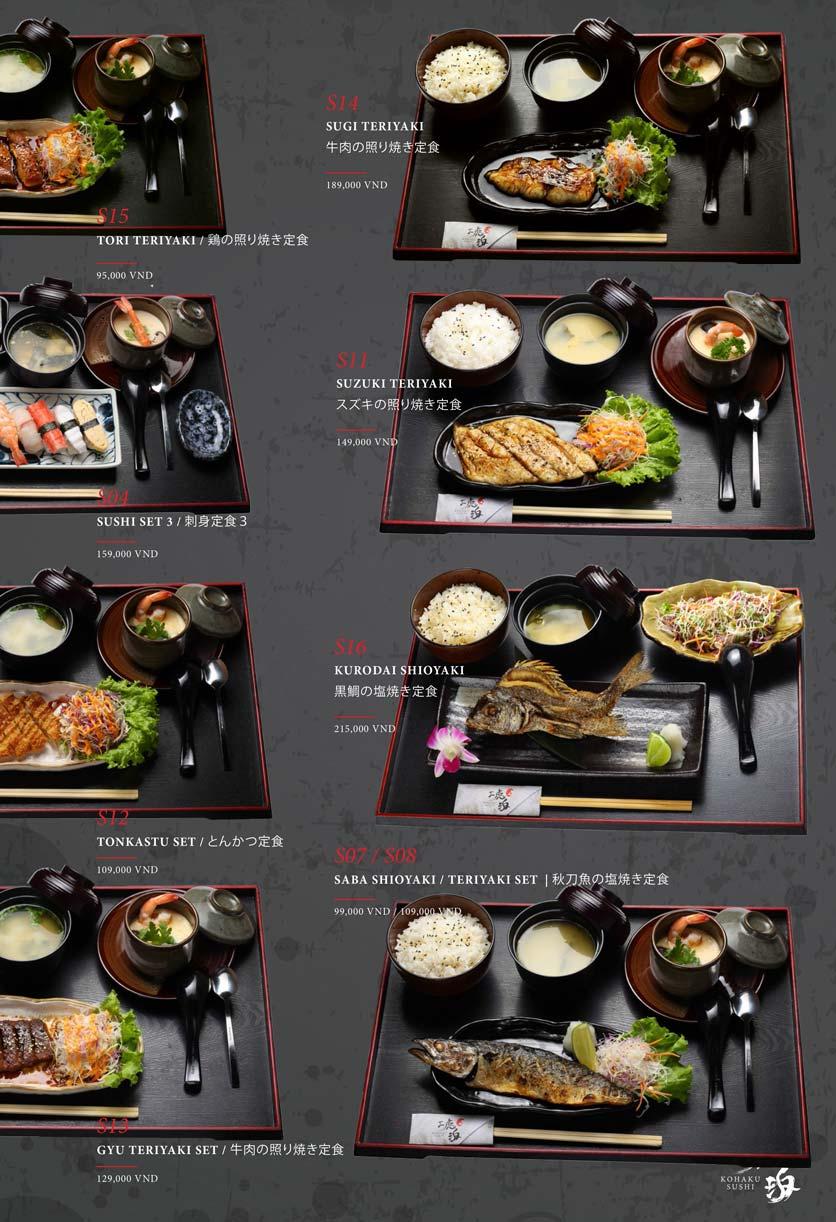 Menu Kohaku Sushi - Vincom Lê Thánh Tôn 33