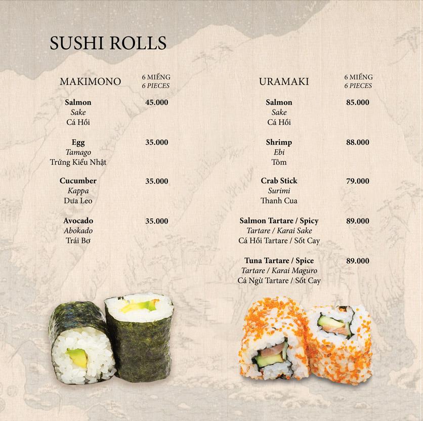 Menu Okome Sushi Bar - Nguyễn Đình Chiểu 7