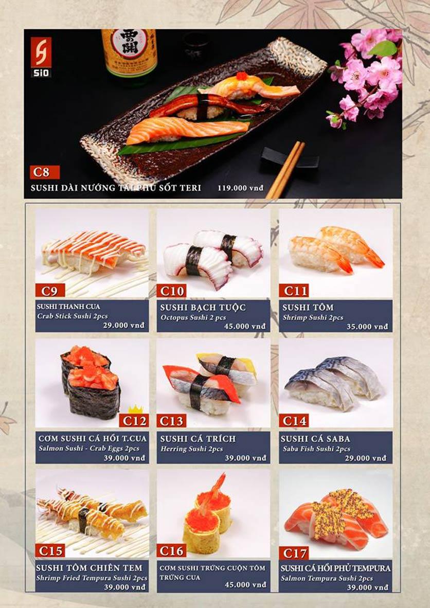 Menu Sio Sushi - Đoàn Trần Nghiệp 8