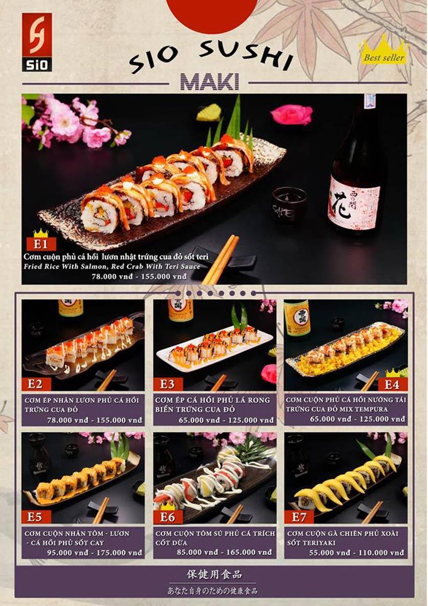 Menu Sio Sushi - Đoàn Trần Nghiệp 9