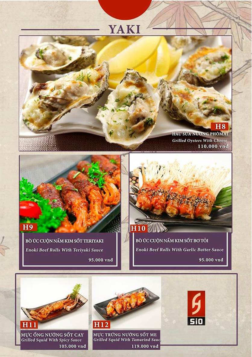 Menu Sio Sushi - Đoàn Trần Nghiệp 12