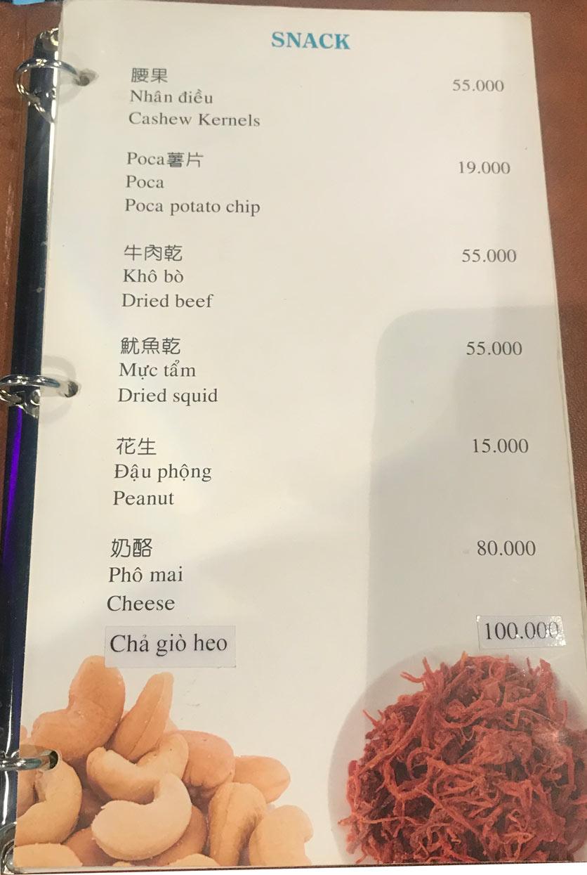 Menu Boss Karaoke & Restaurant – Trung Sơn 1