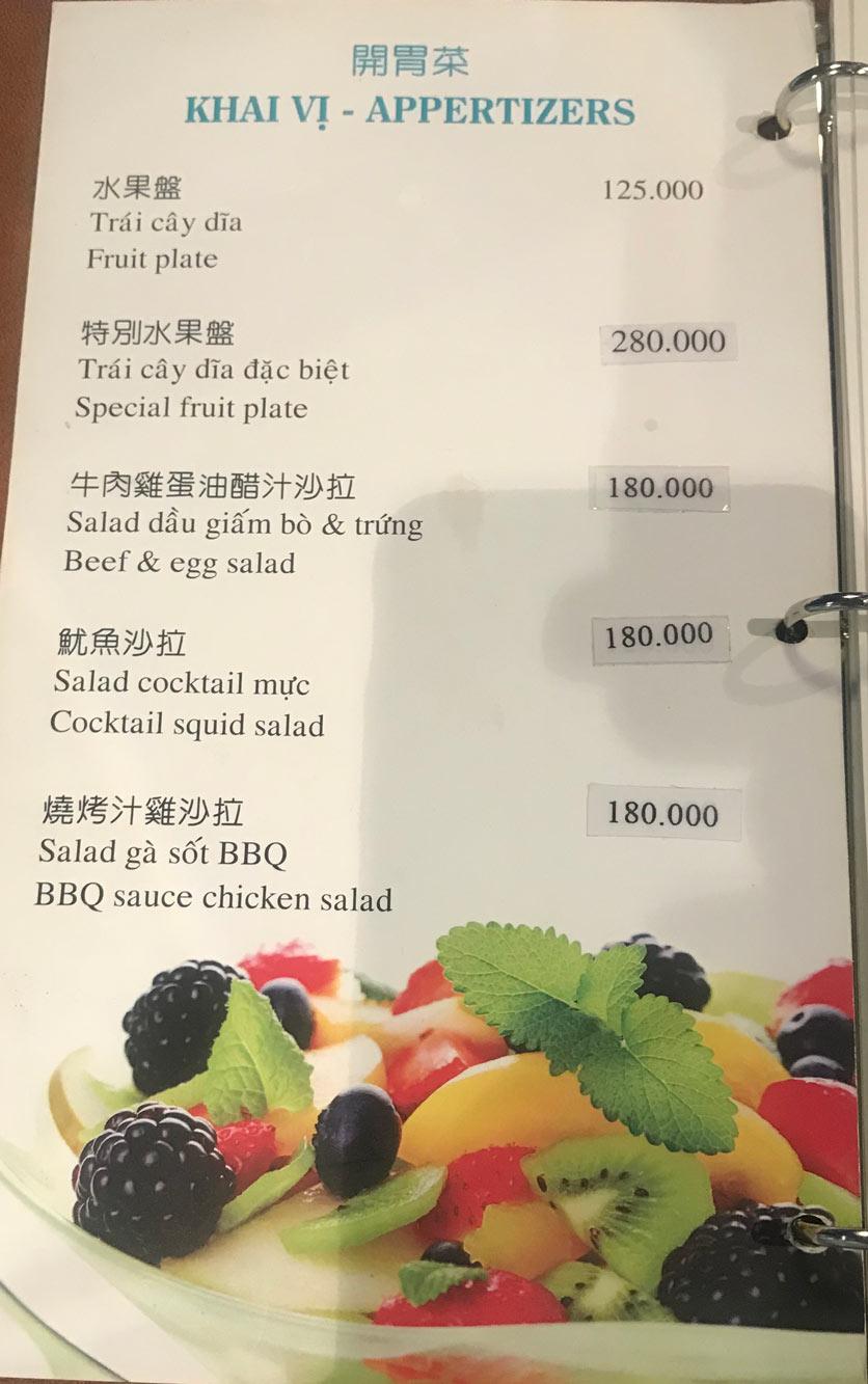 Menu Boss Karaoke & Restaurant – Trung Sơn 2