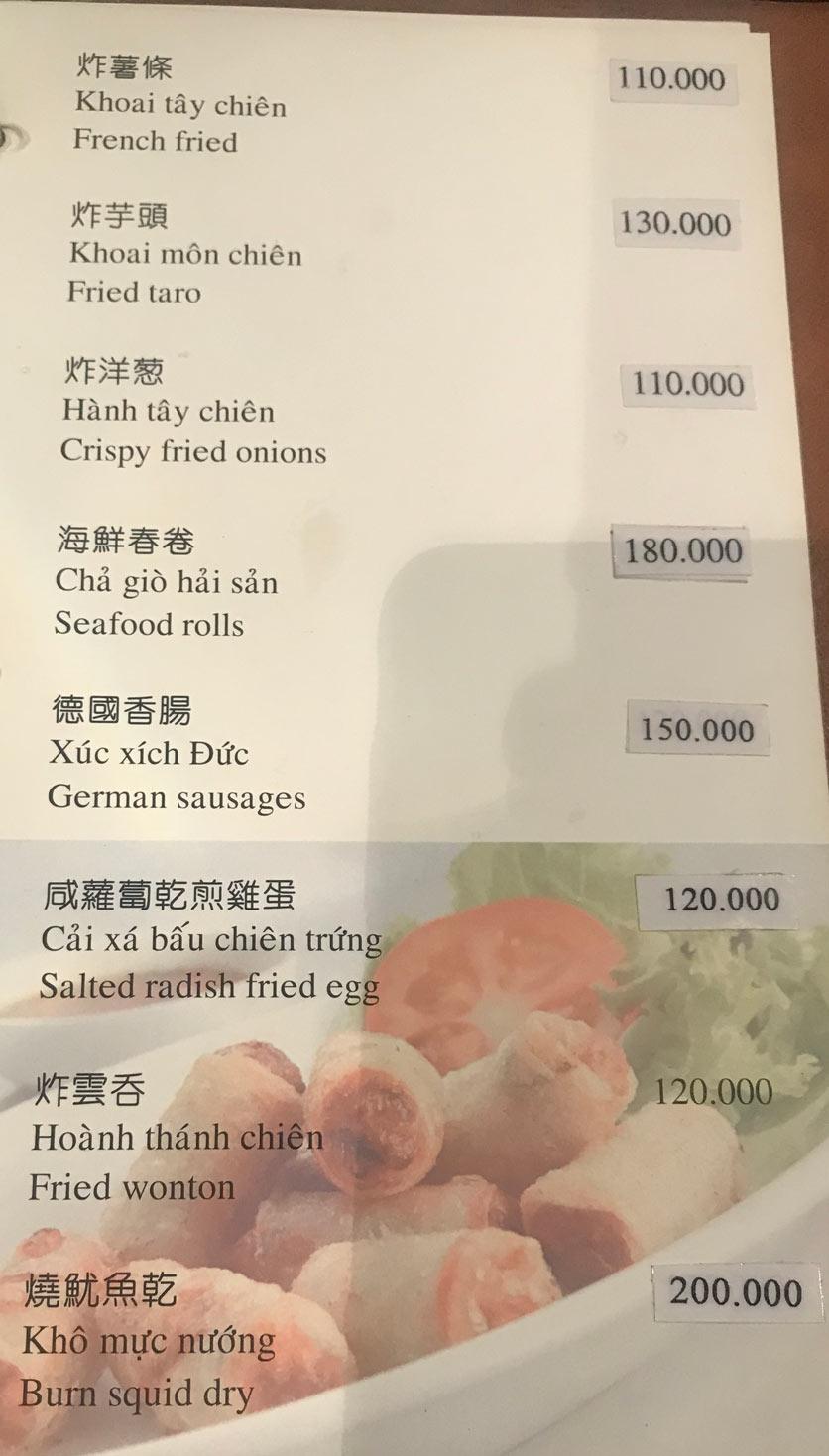 Menu Boss Karaoke & Restaurant – Trung Sơn 3