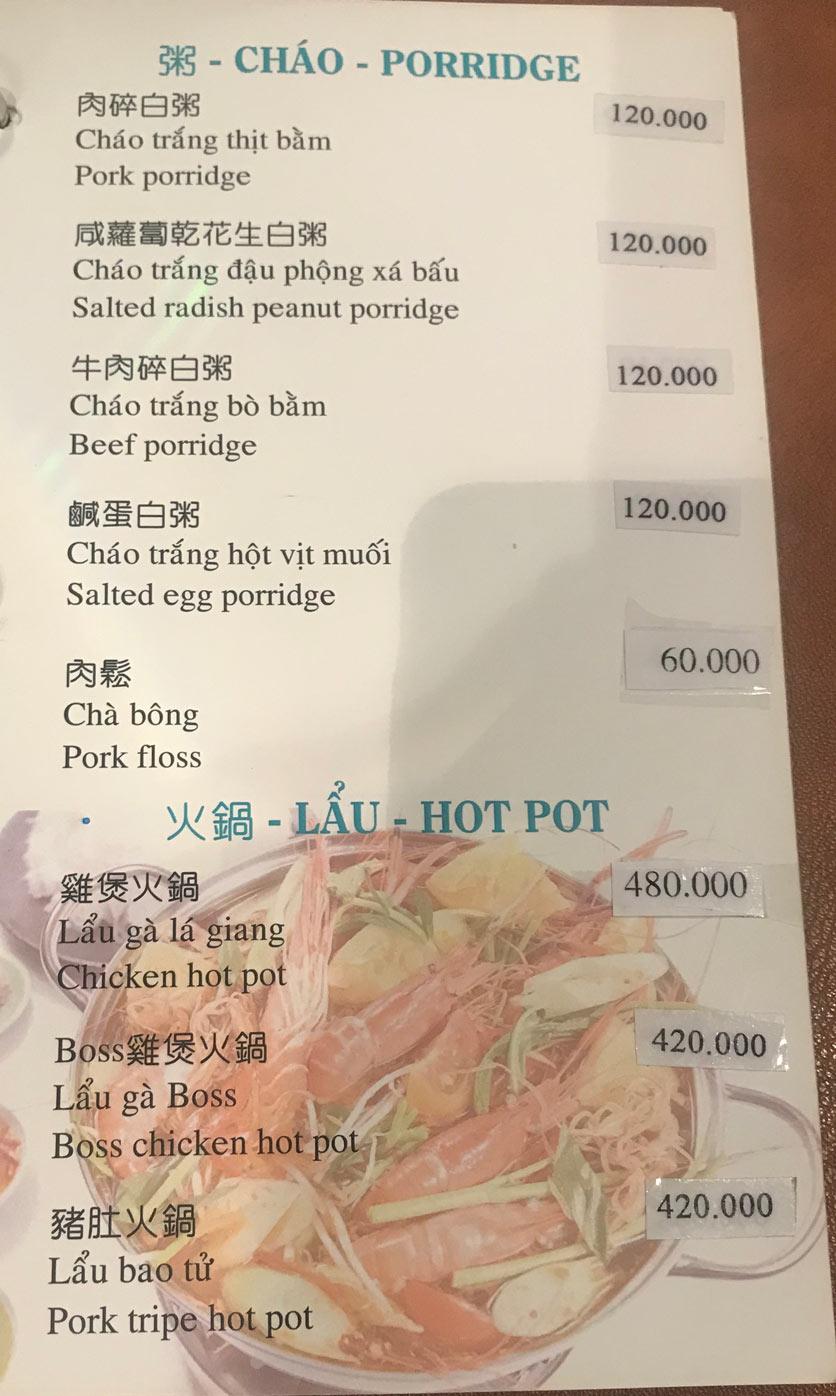 Menu Boss Karaoke & Restaurant – Trung Sơn 13